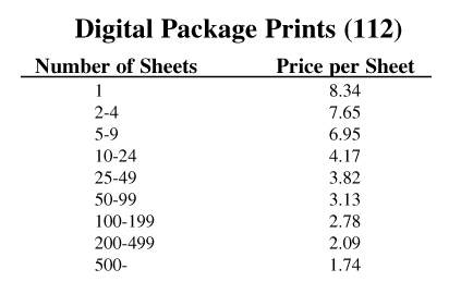 Package Print Price List